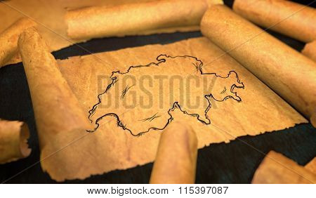 Switzerland Map Drawing Unfolding Old Paper Scroll 3D