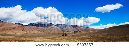Prairie Landscape With Mountains Panorama