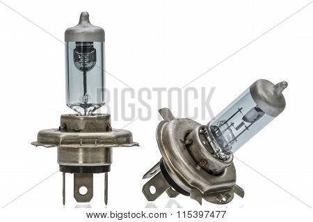 Incandescent Lamp Of Car, Isolated On White Background