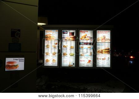 McDonald's Drive-Thru Menu at Night