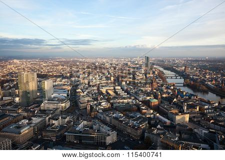 Mid Morning View Of Frankfurt Germany