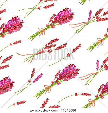 Seamless pattern with hand drawn floral elements- fragrant lavender. Vector illustration in bright pink tone.
