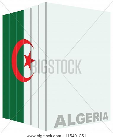 Set Of Book Drawn In Color Flag Of Algeria