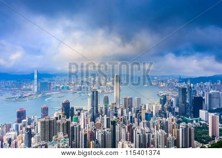 Hong Kong, China city skyline from Victoria Peak.