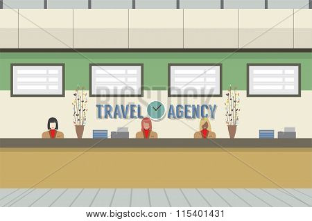 Front Of Travel Agency Counter.