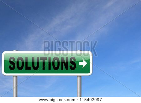 solutions solve problems and search and find a solution road sign billboard