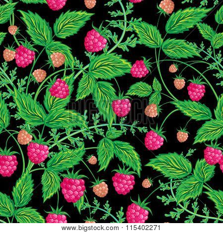 Raspberries seamless pattern with raspberry and leaves on black background