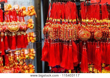 Chinese New Year Ornaments In Chinatown