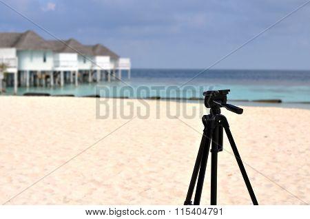 Tripod Standing On Maldives Beach, Equipment Of Couple Lover Travel, Maldives