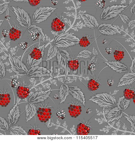 Seamless pattern with leaves and raspberry. Background for your design with bright, contrasting red berries and gray leaves on gray backdrop. Vector illustration.