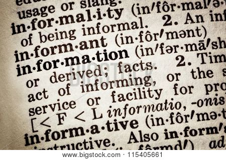 Dictionary definition of word information.