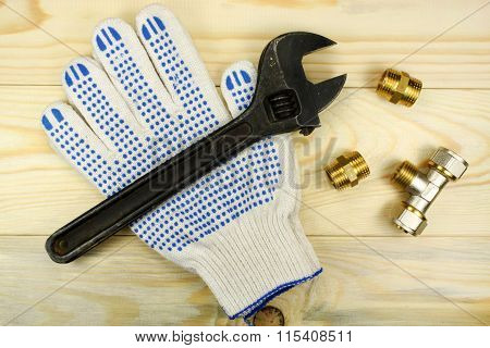 Adjustable Spanner And Protective Gloves