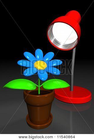 Flor artificial, apreciando o escritório Lamplight