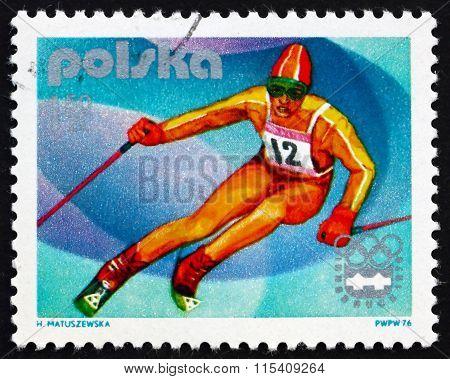Postage Stamp Poland 1976 Slalom