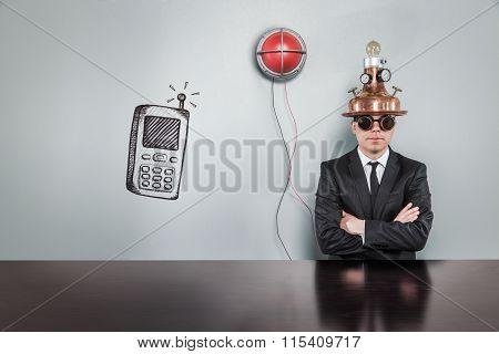 Smart phone concept alert light and vintage businessman