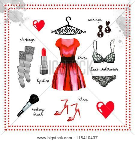 Red Fashion Outfit Watercolor Set Illustration