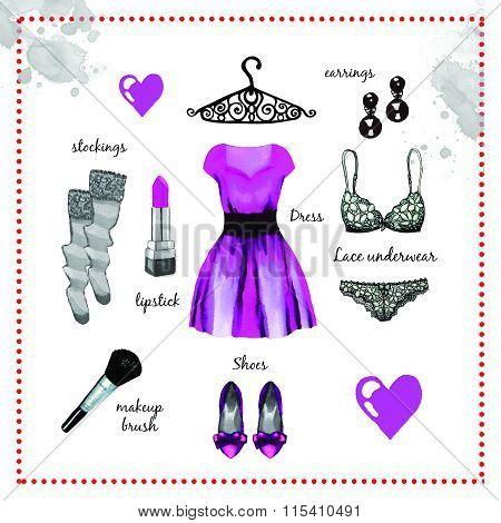 Violet Dress Fashion Outfit Watercolor Set Ilustration