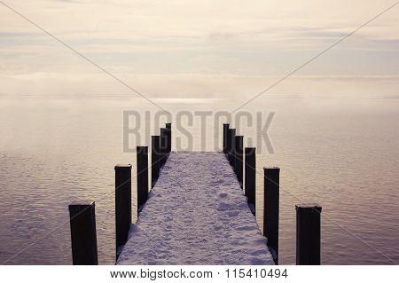 Empty pier to the ocean