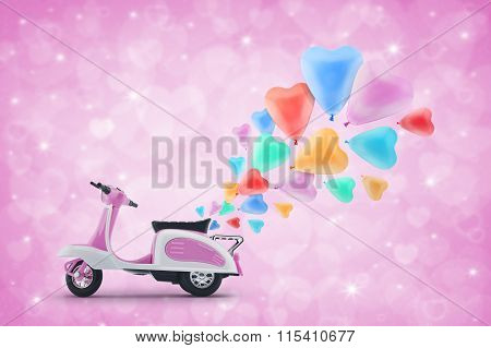 Pink Scooter Toy With Colorful Heart Love Balloon On Light Pink Heart Blur Background