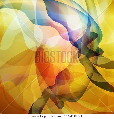 Abstract Waves On Yellow Background, Smooth Shape