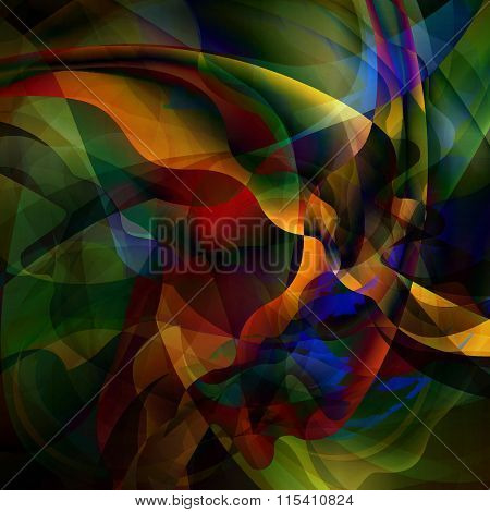 motley Abstract Waves Background, Smooth Shape