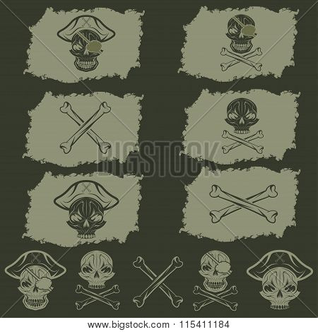 Pirate Skull With Hat Set On Flags And Icons