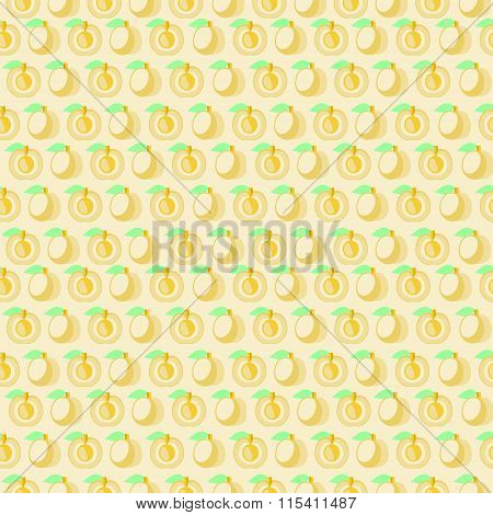 Seamless vector pattern mat symmetrical background with apricot whole and half over light backdrop.