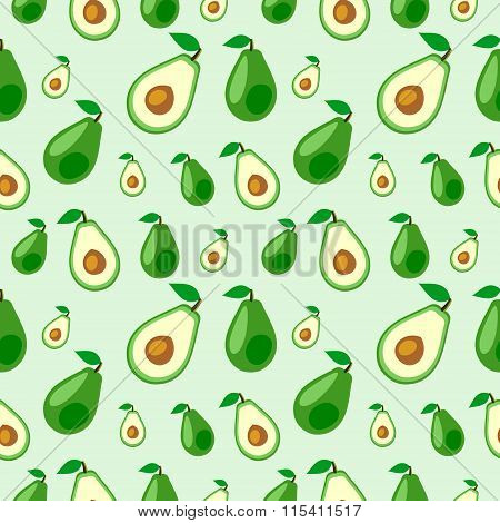 Seamless vector pattern fruits chaotic background with avocado whole and half over light backdrop. S