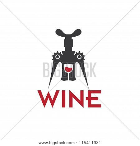 Corkscrew And Wineglass Vector Design Template