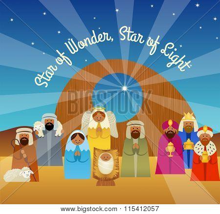 Christmas greeting card illustration of the nativity scene