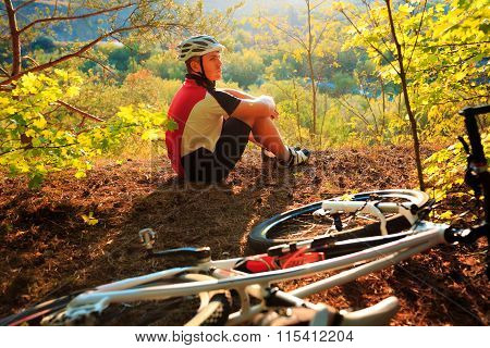 Young Cyclist in Helmet. Sport Lifestyle Concept.