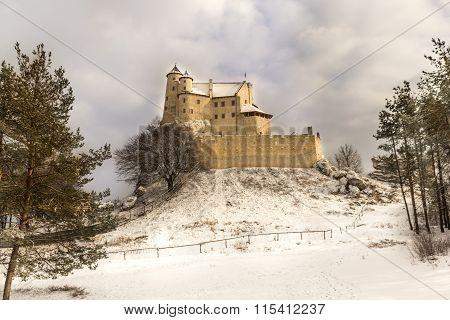 Bobolice castle in winter coat