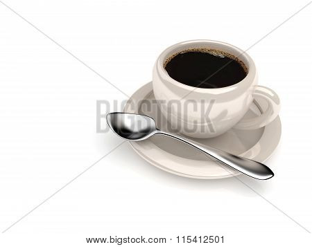 Cup Of Coffee With Spoon Isolated Over White