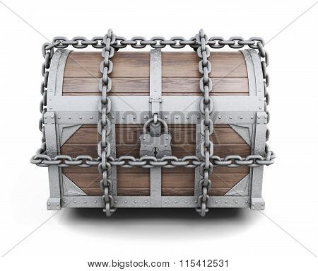 Wooden chest entangled chains. 3d rendering.
