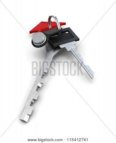 Set of keys isolated on white background. 3d render image
