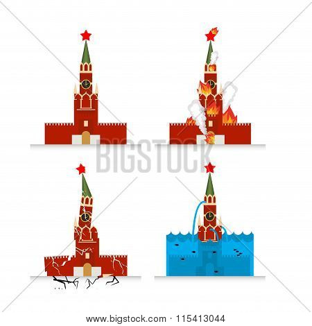 Destruction Of Moscow Kremlin. Meteorite Flies Symbol Of Russia. Fire In Sights. Burns Tower Of Krem