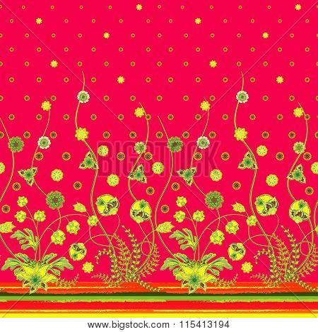 Vector elegant seamless pattern with abstract flowers for your design clothes, bedclothes, invitation, textile, card design etc