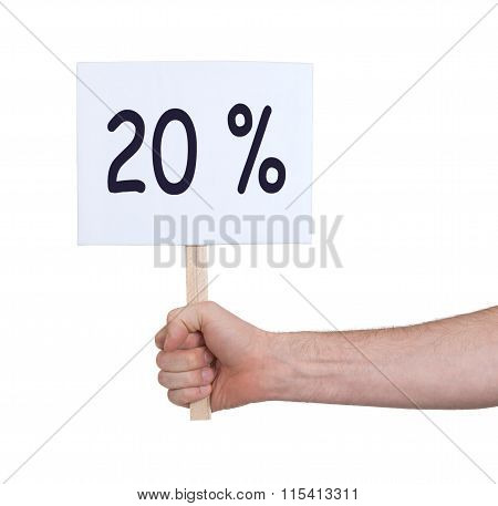 Sale - Hand Holding Sigh That Says 20%