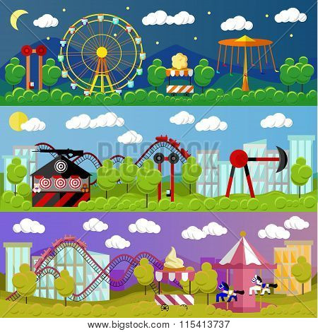 Amusement park banner concept vector illustration in flat style design. City fair. Slides and swings