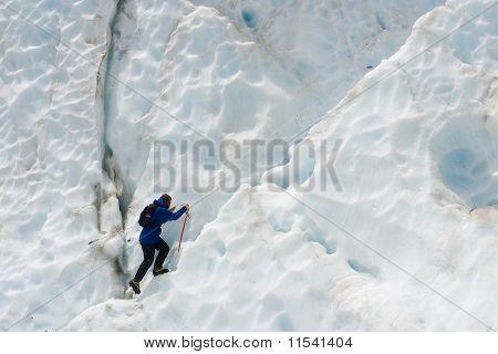 Girl Climbing Glacier