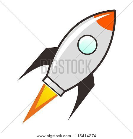 Vector Simple Cartoon Rocket isolated on white