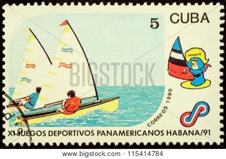 Yacht Race On Postage Stamp