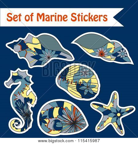 Set of marine stickers