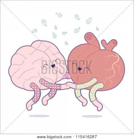 Pajama party - the outlined vector illustration of a brain and a heart wearing pajamas jumping together holding their hands. A part of Brain collection.