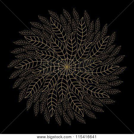 Colorful Ethnicity Floral  Round Ornament On The Black Background . Circular Ornament In Ethnic Styl