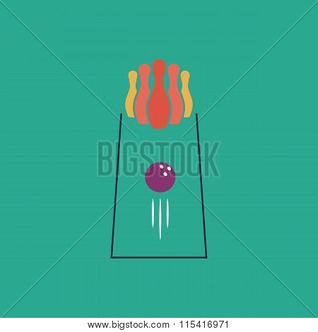 The bowling Game. Colorful vector icon. Simple retro color modern illustration pictogram. Collection concept symbol for infographic project and logo