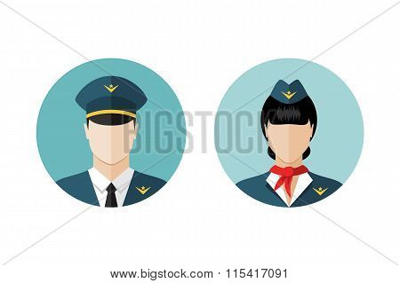 Pilot And Stewardess Icons