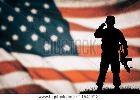 American soldier black silhouette