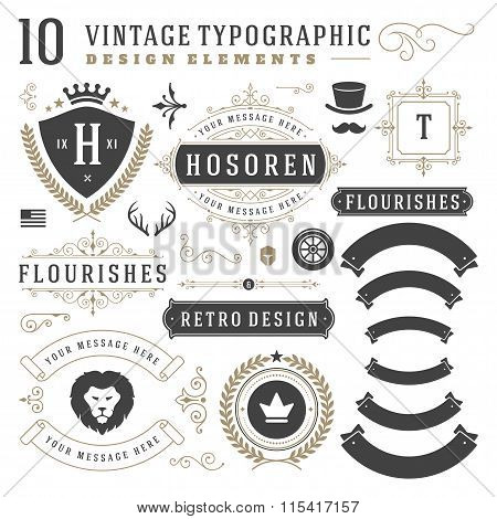 Vintage Design Elements. Arrows, Retro Typography, Labels, Ribbons, Logos symbols