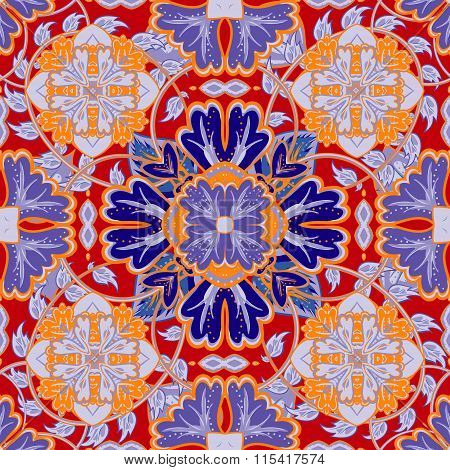 Vector Bright Pattern. East Ornament With Colorful Orange Blue Red Details